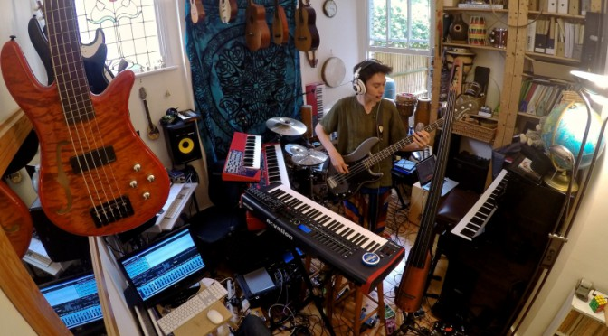 Jacob Collier in his music room