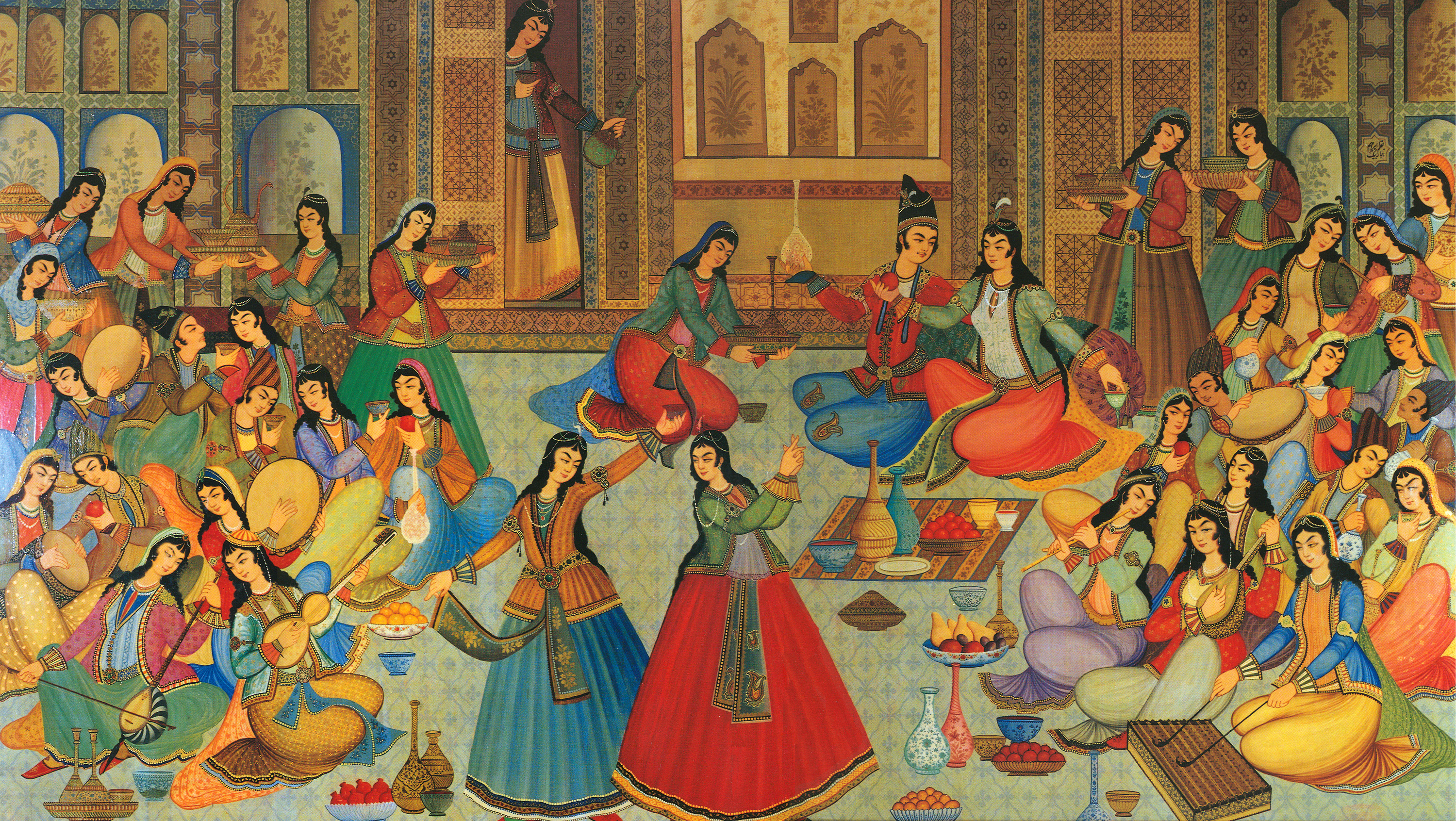 Painting from Hasht-Behesht palace, Isbahan, Iran, from 1669.
