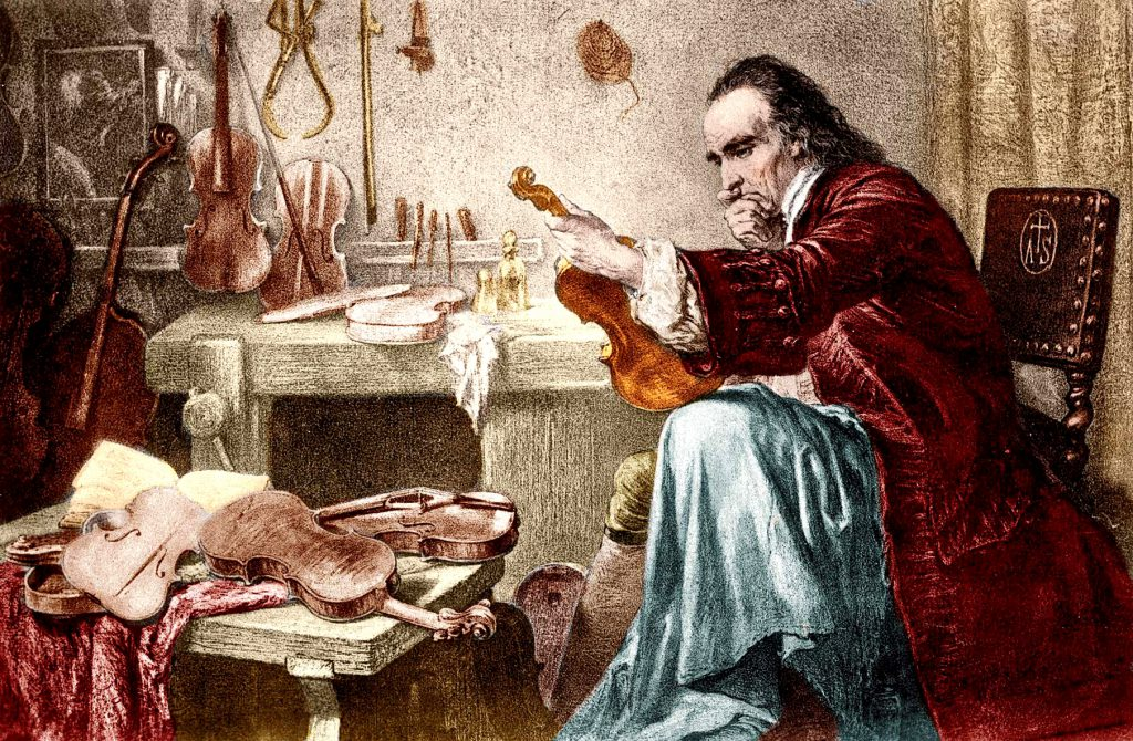 A romanticized print of Antonio Stradivari examining an instrument